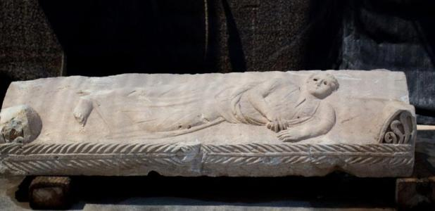 The young man on the 1,800 year old sarcophagus, Ashkelon, Israel