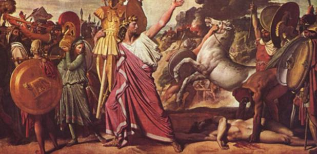 Romulus' Victory Over Acron' (1812) by Jean Auguste Dominique Ingres. Romulus was the first Roman king.
