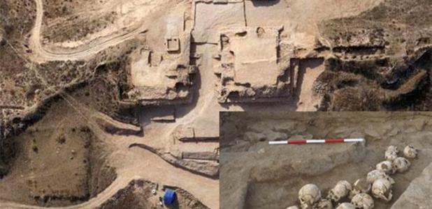 Aerial view of the Shimao archaeological site. (dfdaily) Insert: A pit of skulls unearthed at Shimao. (Zhouyong Sun et al. 2017)