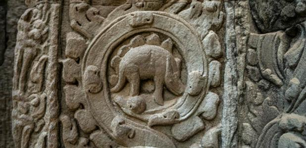 The so-called dinosaur carving at Ta Prohm temple in Cambodia.