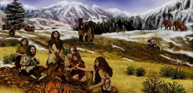 Representation of a group of Neanderthals.