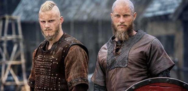 """Two actors from the History Channel series """"Vikings."""""""