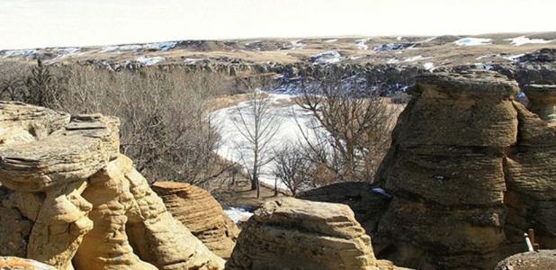 Hoodoos above the Milk River in winter.