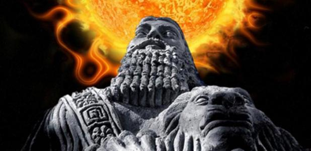 Deriv; Stone statue of Gilgamesh (CC BY 2.0), used here as a representation of an ancient Mesopotamian man. Background: Solar event. (CC0) Information provided by ancient Assyrian astrologers can help modern scientists predict future solar storms.
