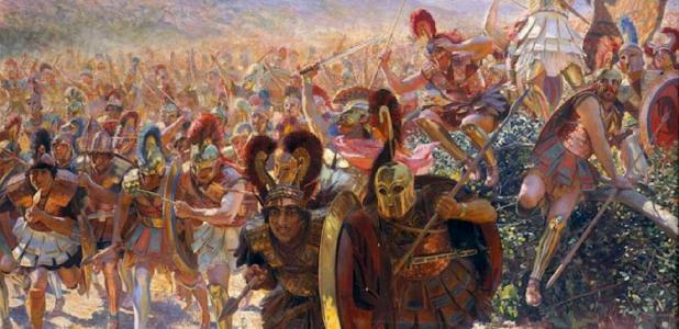 Greek troops rushing forward at the Battle of Marathon. Source: पाटलिपुत्र / Public Domain.