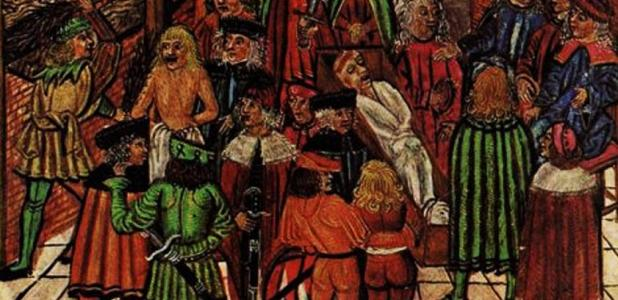 Detail from an illustration of a body in its coffin that starts to bleed in the presence of the murderer during a cruentation 1497.