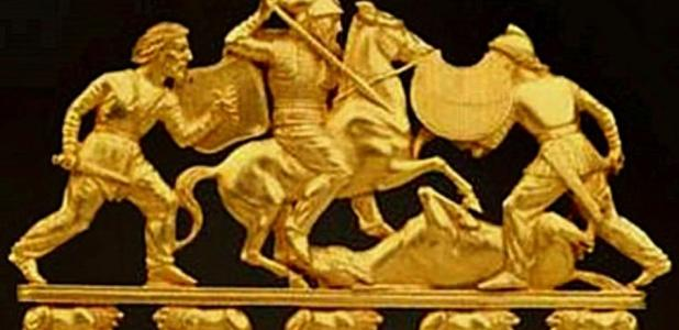 Detail, decorative comb depicting weapons and dress of Scythian Warriors 5th Century