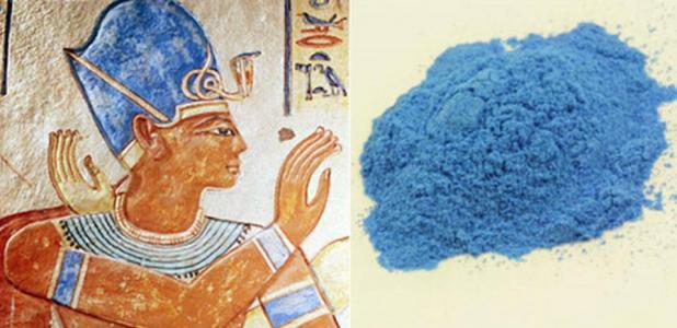Left: Egyptian blue shown in an image of Ramses III 1170 BC. Image source. Right: Egyptian Blue pigment.