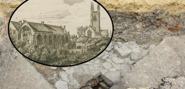 """Ruins of the medieval friary found under the car park. (Cotswold Archaeology) """"The White Friars and Church of St. Mary de Crypt in Gloucester"""" drawn and etched by Samuel Lysons. (ancestryimages.com)"""