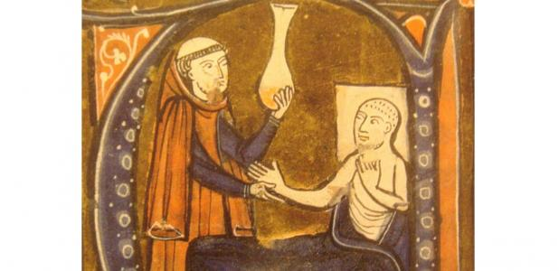 Illustration of a monk tending to a sick patient.