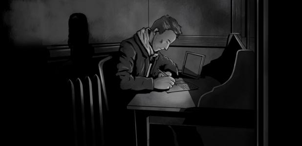 Paul Dienach writing - Illustration