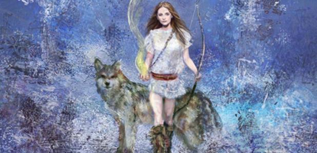Artists impression of Norse giantedd , Skaði or Skadi