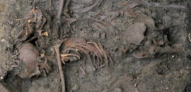 A skeleton of the one of the young men buried on what is now the University of Durham campus