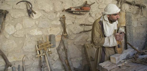 Ancient carpenter, woodworking. Source: deanjs / Public Domain.