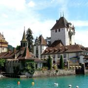 Oberhofen Castle from Lake Thun. (Public Domain)