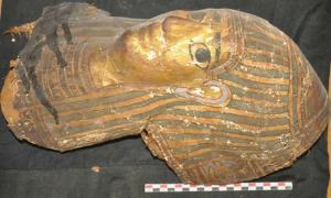 Part of a gilded coffin which was found in one of the Aswan tombs.