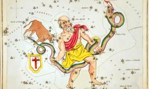 Ophiuchus, the 13th zodiac sign, as depicted in Urania's Mirror, a set of constellation cards published in London c. 1825.	Source: Sidney Hall / Public domain
