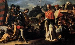 18th Century painting by Pinacoteca di Brera of 'The Meeting of Pope Leo and Attila.'