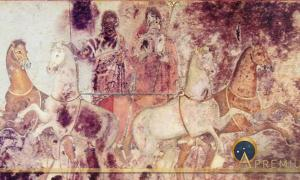 Scene from the tomb of Queen Eurydice, Vergina, Greece (c 340BC) (Public Domain)