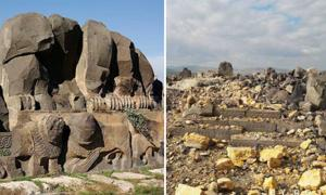 Left: The temple of Ain Dara before. Right: The temple after its recent destruction.