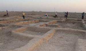 One of the buildings uncovered at the Sumerian port town of Abu Tbeirah, its function is still unknown.