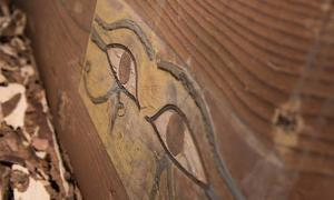 Painted eyes on the newly discovered tomb.