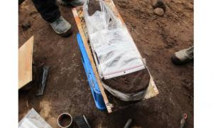 The careful removal of Stone Age remains from excavation at Stokke