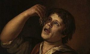 Detail of 'Man eating noodles' (1656) by Jan Vermeer van Utrecht.
