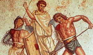 A mosaic depicting gladiators