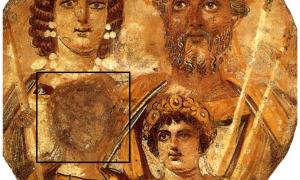 A portrait of the Severan family, with the face of Geta removed due to the damnatio memoriae ordered by Caracalla