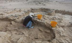 Abdulla Al Kaabi, who discovered the human remains, at work on site on Marawah.