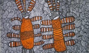 Nura Rupert, Australia, c.1933. Pitjantjatjara people, South Australia, Mamu (Spooky spirits) 2006, Ernabella, South Australia, synthetic polymer paint on linen 92x122cm. Ed and Sue Tweddell Fund for South Australian Contemporary Art 2006. Art Gallery of South Australia, Adelaide.            Source: © Nura Rupert, courtesy of Ernabella Arts.