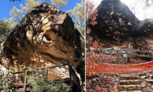 Baloon Cave, before (left) and after (right) the 2018 explosion that destroyed ancient Aboriginal rock art.       Source: Paul Tacon (after) / Selina Goodreid (Before)