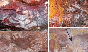 Assortment of the Aboriginal rock art found at the Yilbilinji site in Limmen National Park, Australia.    Source: L.M. Brady / Antiquity Publications Ltd