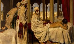 Painting entitled 'Abulcasis blistering a patient in the hospital at Cordova.'