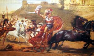 Achilles dragging the dead body of Hector in front of the gates of Troy