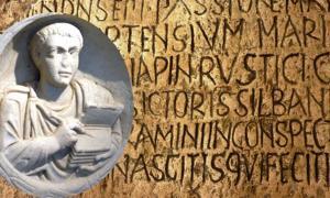 Relief from a scribe's tomb found in Flavia Solva. (Public Domain) Background: Latin stone inscription.