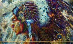 Indian woman wearing feather headdress with lion.  (Jozefklopacka/ Adobe Stock)