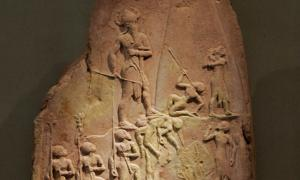 King Naram-Sin of Akkad, grandson of Sargon, leading his army to victory.