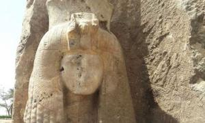 The newly-discovered alabaster statue of Queen Tiye.