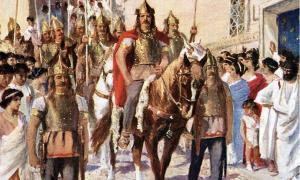 Illustration from the 1920s depicting Alaric parading through Athens after conquering the city in 395 AD.