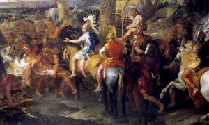 A painting by Charles Le Brun depicting Alexander and Hephaestion (in red cloak), facing Porus, during the Battle of the Hydaspes.