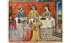Alexander and his queen at table, and again in the foreground with a feather in his throat after being poisoned, 323 BC.