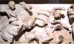 Detail of the Alexander Sarcophagus located in the Istanbul Archaeology Museum. Here Alexander fights the Persians at the Battle of Issus.