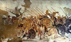 Famous Alexander Mosaic, showing Battle of Issus. Alexander is depicted mounted, on the left.