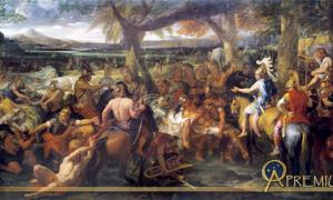 A painting by Charles Le Brun (1673) depicting Alexander and Porus (Puru) during the Battle of the Hydaspes