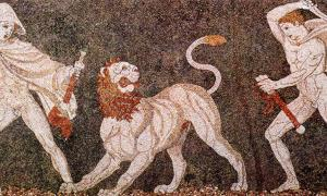 Lion hunt. Mosaic from Pella (ancient Macedonia), late 4th century BC, depicting Alexander the Great and Craterus. Housed in the Pella Museum. Image: Public Domain