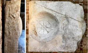 Views of the two sculpted faces of the Star-Shield Block in Venice: identified as part of a 3rd century BC Greek tomb by Eugenio Polito in 1998.            Source: Andrew Chugg