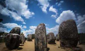Almendres Cromlech megalithic site, Portugal.