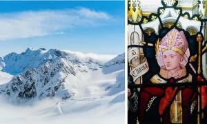 Left: representation of an alpine glacier. (ryszard filipowicz / Adobe stock). Right: 19th-century depiction of St Thomas Becket, showing a sword piercing his head. St Peter's Church, Berkhamsted, Hertfordshire, UK. (Cnbrb / CC BY-SA 4.0)